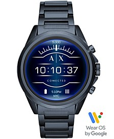 A|X Men's Connected Blue Stainless Steel Bracelet Touchscreen Smart Watch 48mm, Powered by Wear OS by Google™
