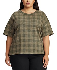 Plus Size Glen Plaid-Print Button-Trim Top