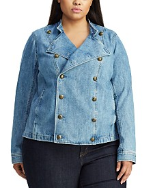 Lauren Ralph Lauren Plus Size Denim Officer's Jacket