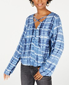 Freshman Juniors' Tie-Dyed Surplice Blouse
