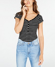 Juniors' Off-The-Shoulder Henley Bodysuit