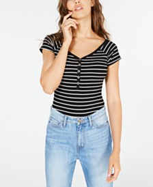 Crave Fame Juniors' Off-The-Shoulder Henley Bodysuit