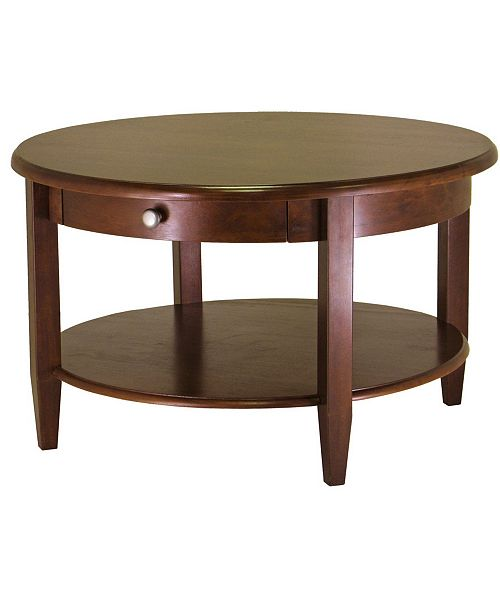 Winsome Concord Round Coffee Table with Drawer and Shelf