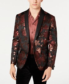 INC Men's Slim-Fit Rust Jacquard Floral Blazer