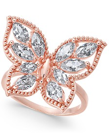 Charter Club Rose Gold-Tone Crystal Butterfly Ring, Created for Macy's
