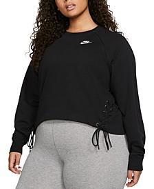 Plus Size Sportswear Lace-Up Fleece Sweatshirt