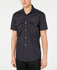 I.N.C. Men's Striped Utility Shirt, Created for Macy's