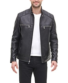 Men's Leather Racer Jacket, Created for Macy's