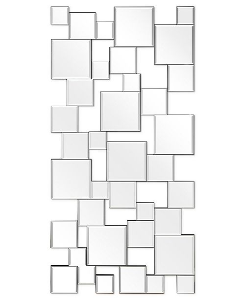 """Empire Art Direct Solid Wood Base Covered with Beveled Squares Mirror - 24"""" x 48"""""""