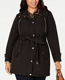 Plus Size Single-Breasted Hooded Raincoat, Created for Macy's
