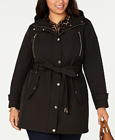 Michael Michael Kors Plus Size Single-Breasted Hooded Raincoat, Created for Macy's