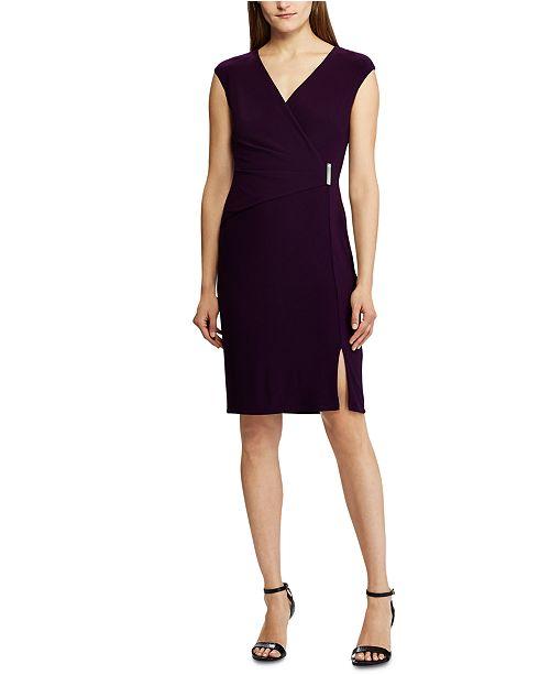 Lauren Ralph Lauren Pin-Waist Side-Slit Jersey Dress