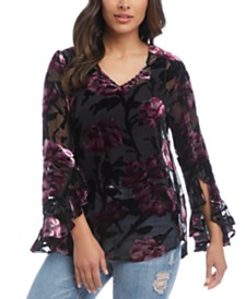 Karen Kane 3/4-Sleeve Ruffled Top