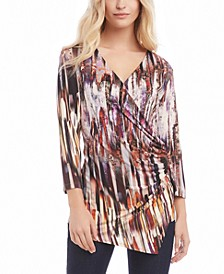 3/4-Sleeve Printed Ruched Top