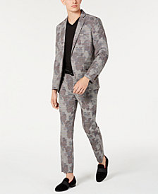 I.N.C. Men's Slim-Fit Glen Plaid Camo Suit Separates, Created for Macy's