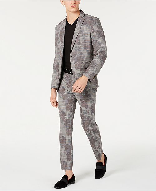 INC International Concepts I.N.C. Men's Slim-Fit Glen Plaid Camo Suit Separates, Created for Macy's