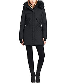 Luxe Canyon Faux Fur Trim Hooded Parka Coat