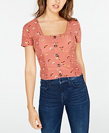 Juniors' Floral-Print Smocked Top