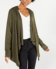 Juniors' Cozy Hooded Open-Front Cardigan