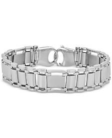 Men's Link Chain Bracelet in 14k White Gold