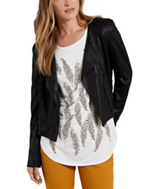 Karen Kane Mixed-Media Faux-Leather Jacket