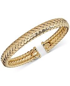 Italian Gold Braided Cuff Bracelet in 14k Gold