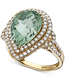 EFFY® Green Quartz (5-9/10 ct. t.w.) & Diamond (9/10 ct. t.w.) Ring in 14k Gold