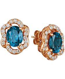 Deep Sea Blue Topaz (4-1/5 ct. t.w.) & Diamond (7/8 ct. t.w.) Stud Earrings in 14k Rose Gold