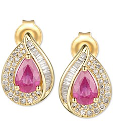 Sapphire (9/10 ct. t.w.) & Diamond (1/3 ct. t.w.) Stud Earrings in 14k White Gold (Also available in Emerald & Certified Ruby)