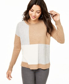 Charter Club Colorblock Cashmere Sweater, Created for Macy's