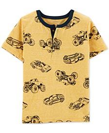 Toddler Boys Car-Print Cotton Henley T-Shirt