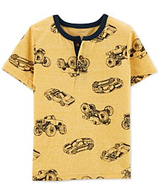 Carter's Toddler Boys Car-Print Cotton Henley T-Shirt