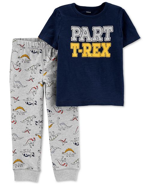 Carter's Toddler Boys 2-Pc. Cotton T-Rex-Print T-Shirt & Jogger Pants Set