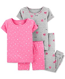 Baby Girls 4-Pc. Cotton Hearts Pajama Set