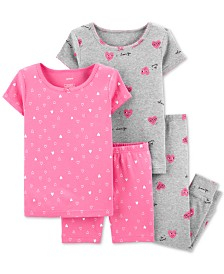 Carter's Baby Girls 4-Pc. Cotton Hearts Pajama Set