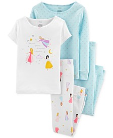 Little & Big Girls 4-Pc. Cotton Princess Pajama Set
