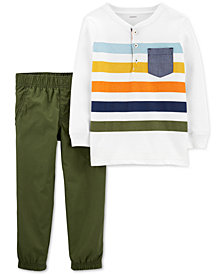 Carter's Baby Boys 2-Pc. Cotton Striped Henley-Neck Top & Pants Set