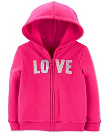 Toddler Girls Sequin-Love Zip-Up Fleece Hoodie