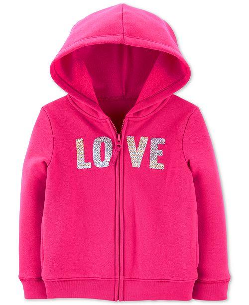 Carter's Toddler Girls Sequin-Love Zip-Up Fleece Hoodie