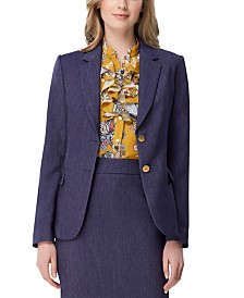 Tahari ASL Petite Denim Roll-Tab-Sleeve Jacket