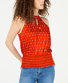 I.N.C. Petite Printed Keyhole Halter Top, Created for Macy's