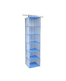 Kids 6 Shelf Hanging Organizer in Painterly Blue Stripe