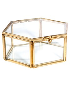 Vintage Hexagon Glass Keepsake Box