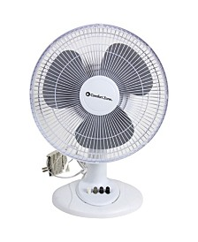 "Comfort Zone Cz121Bw 12"" Oscillating Table Fan"