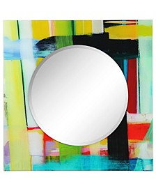 """Printed Tempered Art Glass with Round Beveled Mirror Wall Decor 36"""" x 36''"""