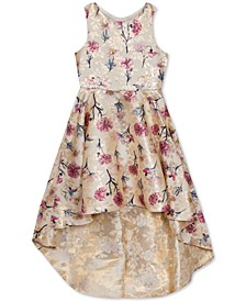 Big Girls Floral-Print Brocade High-Low Dress
