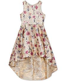 Rare Editions Big Girls Floral-Print Brocade High-Low Dress