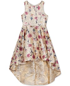 Rare Editions Big Girls Floral-Print Brocade High-Low Dress