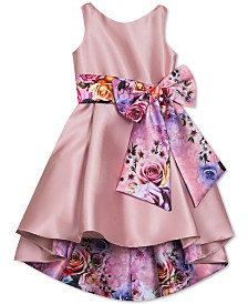 Rare Editions Big Girls Floral-Bow High-Low Dress
