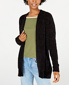 Juniors' Chenille Pocket Cardigan
